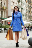 Young woman with purchases Stock Photography