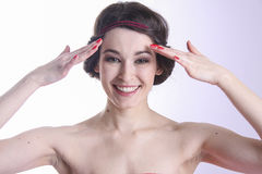 Young woman. pure skin and dental care. happy smile! Stock Photo