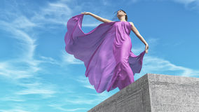 The young woman in purple dress vector illustration