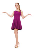 Young woman in purple dress and high heels Stock Photo