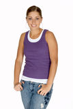 Young Woman in Purple Tank Top Royalty Free Stock Images