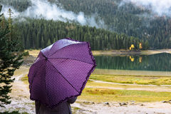 Young woman with a purple umbrella walks in autumn park Durmitor Royalty Free Stock Photography