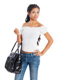 Young woman with purse Royalty Free Stock Photo