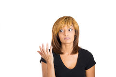 Young woman putting her hand up to say i don't know Stock Photography