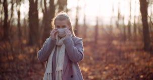 Woman putting on protective mask against coronavirus
