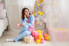 Young woman in pyjamas Stock Photo