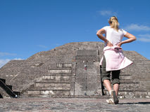 Young woman with Pyramid Royalty Free Stock Photo