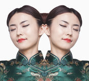 Young woman in Qipao Digital Composite Royalty Free Stock Photos