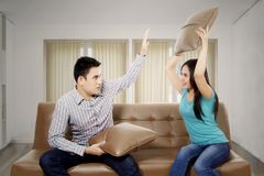 Young woman quarrel her husband on the couch Stock Photography