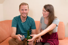 Young woman is quarreling. Young women is quarreling with her boyfrend Royalty Free Stock Photos