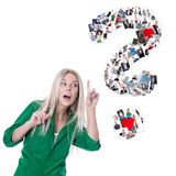 Young woman with question mark - flirting or dating concept. Royalty Free Stock Photos