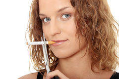 Young woman quit smoking Stock Photo