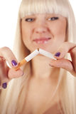 Young woman quitting smoking Stock Photo