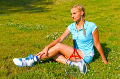 Young woman with racket royalty free stock photos