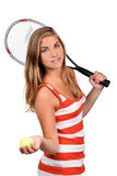 Young woman with racket Stock Images