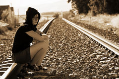 Young woman in railroad royalty free stock photography