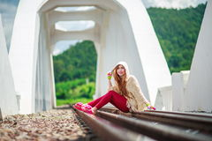 Young woman on the rails Royalty Free Stock Images