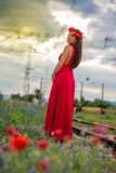 Young woman on the railway Royalty Free Stock Photos