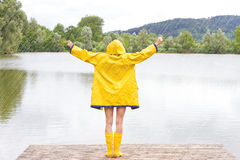 Young woman in the rain Stock Photography