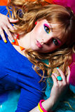 Young woman with rainbow make-up Royalty Free Stock Photos