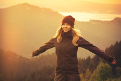 Young Woman raised hands outdoor Royalty Free Stock Photography