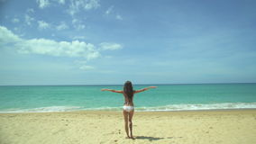 Young Woman Raises Her Arms Up On The Beach stock footage