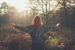Young woman raising her arms in forest at sunset Royalty Free Stock Image