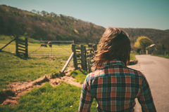 Young woman on a ranch Royalty Free Stock Images
