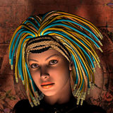 Young woman with rasta hair. Rendering 3D portrait of a young woman with rasta hair Stock Photography