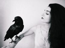 Young woman with raven Stock Image