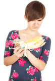 Young woman with raw corn Stock Photos