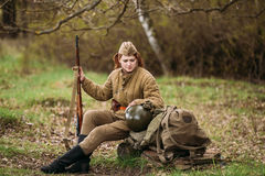 Young Woman Re-enactor Dressed As Russian Soviet Infantry Soldier Of World War II Stock Photos