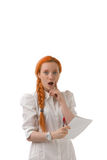 Young woman reacting in surprise Royalty Free Stock Image
