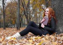Young woman read book, sit on yellow leaves in autumn park near tree stock photography