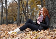 Young woman read book, sit on yellow leaves in autumn park near tree Stock Images