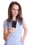 Young woman reading bad message Royalty Free Stock Images