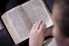 Young woman reading the Bible Stock Photos