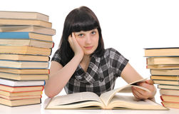 Young woman  reading book Stock Photos