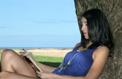 Young woman reading a book. Young brunette woman in a blue tank top reading a book in the shade of a tree, with the ocean in the background Stock Photo