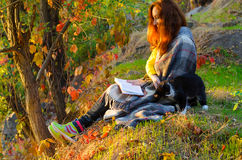 Young woman reading a book in the autumn park and petting a fluf Royalty Free Stock Image