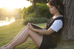 Young woman reading book. Closeup of a beautiful young woman rea Stock Image