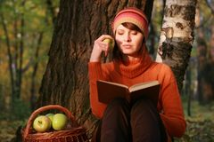 Young woman reading book in fall park. 30-35 years old woman reading book in fall park royalty free stock photos