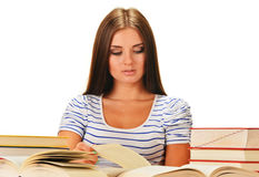 Young woman reading a book. Female student learnin. G on white background Stock Images