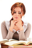 Young woman reading a book. Female student learning Royalty Free Stock Images