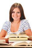 Young woman reading a book. Female student learning. On white background Stock Photo