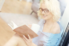 Young woman reading a book at home Stock Photography