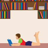 Young woman reading a book. Illustration, elements for design Royalty Free Stock Image