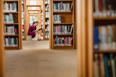 Young woman reading book in library Stock Photo