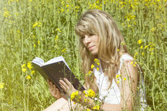 Young woman reading a book on the meadow Stock Image