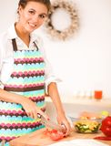 Young woman reading cookbook in the kitchen, looking for recipe. Isolated Stock Photo